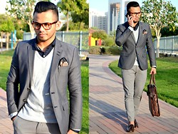 Paul Ramos - H&M Lensless Tortoise Shell Sunnies, Iconic Mini Polka Dot Shirt, H&M Grey Tailored Blazer, American Eagle Outfitters Grey Slim Trousers, Iconic Brown Tassel Loafers, Splash Brown Leather Nurse, Ted Baker Pocket Square - NERDY DANDY