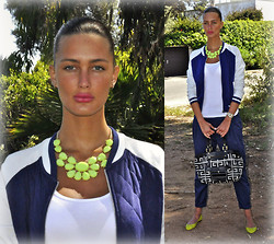 Amina Allam - Romwe Statement Necklace, Mim Bomber Jacket, H&M Basic Tank Top, Zara Baggy Pants, Givenchy Vintage Bag, Zara Ballerina Flats - Bomber jacket & baggy pants