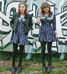Annie Honey Mac - Leather Jacket, East End Thrift Store Granny Dress, H&M Glitter Tights, Dr. Martens Boots - Granny Florals