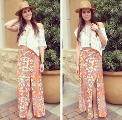Elizabeth Anderson - Libby Story Crochet Crop Top, Minkpink Maxi Skirt - Orange Blossoms