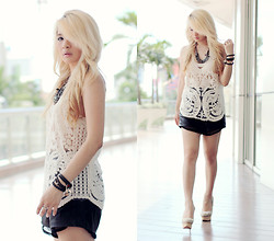 Anastasia Siantar - Lace Crochet Vest, Tropic Tree Shorts, Charlotte Olympia Shipwrecked Dolly, Necklace - Little crochet
