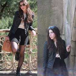 Kim A - American Apparel Black Denim Circle Skirt, Fossil Sydney Satchel - Wallflower
