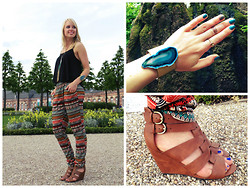 Signe Savant - Deb Tribal Jogger Pants, Deb Floaty Tank, Deb Wedges, Naturelook Teal Geode Cuff, Chicnova Long Tassel Necklace - An afternoon in the palace gardens...