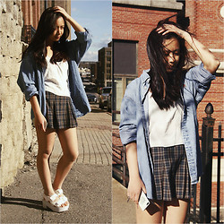 Linh Vu - Denim Flannel, Brandy Melville Usa White Cami - Two Point Five