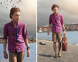 Jomie Hospital - Penshoppe Plaid Button Down, Penshoppe Light Brown Shorts, Penshoppe Brown Shoes - Island In The Sun