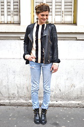Marie And Mood - The Kooples Perfecto, Asos Top, H&M Jeans, Jonak Boots - Couronne de tresses