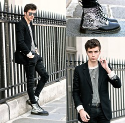 "Matthias C. - Black Blazer, Dr. Martens Drawing Boots, All Saints Sweater, Black Skinny Jeans - ""Elpis"""