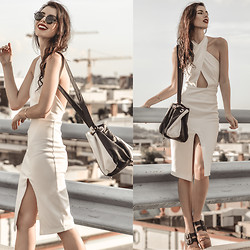 Elle-May Leckenby - Black And White Slouchy Bucket Bag, White Halter Purity Dress, Zerouv Black Cat Frame Sunglasses - Wrap around