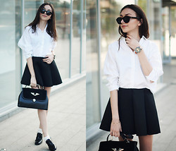 Bea G - Shirt, Skirt, Shoes, Bag, Watch - White  Shirt