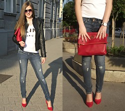 Anja - Michael Kors Bag, Moschino Sunglasses, Zara Jeans - Red heels