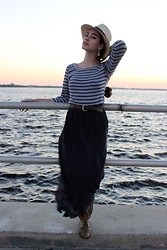 Piper Arielle - Forever 21 Maxi Skirt, Boots, Sorrelli Earrings - Sail away with me.