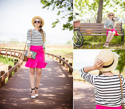 Olga Choi - Sheinside Skirt, Zerouv Sunglasses, Old Navy Sweater, Persun Bag, Chic Wish Necklace, Forever 21 Hat - Tom Sawyer