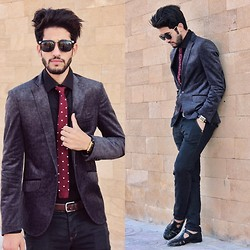 HAMID KHOUYI - Tiedsociety Maroon Polka Dot Silk Knit Tie, Massimo Dutti Grey, Vintage Black, Giantvintage Vintange Sunglasses - Everyday is a fashion show and the world is your runway