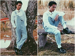 Afifi Zaidin - Versace Versace Inspired Necklace, H&M Long Sleeve Shirt, Oshkosh Dungarees, Dr. Martens Black Patent Creepers - Bombardment