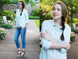 Kelsey W - Gap Mint Button Down, Gap Bf Jeans, Lulu*S Strappy Heels, Our World Boutique Statement Necklace - Make New Friends, But Keep the Old