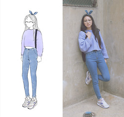 Yonish - Gap Backpack, Jollychic High Waist Jeans, Saucony Shadows 6000 Sneakers - Fine Periwinkle