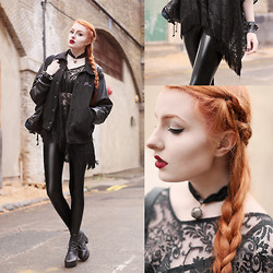 Olivia Emily - Calamity Varsity Jacket (Old), Asos Lace Fringed Top, Black Milk Clothing New Slicks Leggings, Oasap Boots (Old) - Messy Messy Plaits.