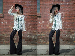Eugénie Grey - Crochet Top, Dailylook Knit Bellbottoms, Love + Leather Crystal Disco Necklace - Crochet and Bells