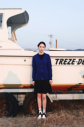 Cherry L - Fashiontoany Navy Dress - Keep Calm