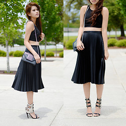 Trang Huyen - Bcbg Crop Top, Bcbg Pleated Skirt, Saint Laurent Betty Bag, Manolo Blahnik Strappy Heels - Summer Pleats