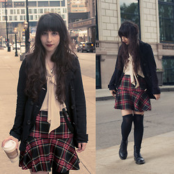 Camila C - American Rag Blazer, Forerver 21 Blouse, The Alley Suspenders, Boot Socks, Dr. Martens Pascal   - Give Me Your Eyes I Need Sunshine