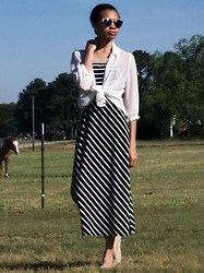 Shar E - Black/White Striped Maxi Dress, White Shirt, Urban Outfitters Round Gold Trimmed Sunglasses - B&W