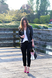 Alexandra G. - Walter Baker Leather Jacket, Everlane T Shirt, James Jeans Ripped Skinny, Diane Von Furstenberg Suede Pumps, Roots Two Tone Leather Bag - Pop of Pink