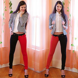 Valentina - Karmaloop Jeans Red & Black, Armani Exchange B&W Blazer, H&M White Blouses - Jokers are the wild cards