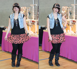 Mary Craig - Chi Qle Ripped Denim Vest, Vans Leopard Baseball Cap, Aritzia Printed T Shirt, Clutch Jewels Titanium Quartz Necklace, Love Squared Leopard Skirt, Aldo Black Boots - Rock the Leopard