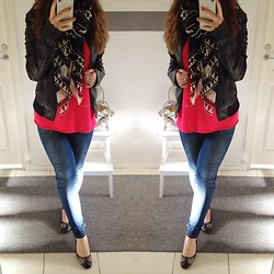 Emma Karki - Pieces Scarf, Gina Tricot Cut Out Top, Zara Jeans, 2nd Hand Ballerinas, Vero Moda Leather Jacket - Never again huh