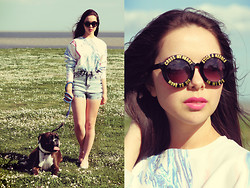 Jen Lou M - Zerouv Sunglasses, River Island Marble Cropped Sweater, River Island High Waisted Denim Shorts, River Island Coral Slip Ons - Cross My Heart