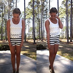 Jennifer Therese - Forever 21 Lace Crop, Bcbg Striped High Waisted Shorts - High Waisted Stripes.