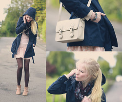 Joana ♡ - H&M Coat, Only Top, Forever 21 Skirt, Esprit Boots, Forever 21 Bag, Unknown Bracelet, Cecil Scarf - Because I' m happy