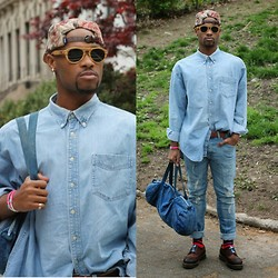 Askia Abdull - Chuck Originals Floral Hat, Proof Eyewear Wooden Glasses, H&M Denim Jeans, Dr. Martens Wing Tips, Urban Outfitters Acid Washed Bag, Hickies - Denim On EM