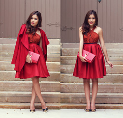 Anniepop Nguyen - St Frock Red Coat, Asos Halter Dress, Chic Wish Midi Skirt, Saint Laurent Ysl Classic Y Clutch, Tony Bianco Shoes - Little Red Riding Hood