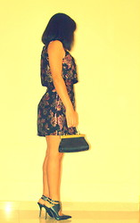 Kero P - Topshop Crop Floral Jacquard Dress, H&M Mini Bag, River Island Croos Over Heeled Court Shoes - About Last Night