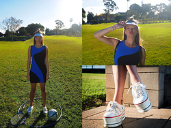 Emi B - Oliver By Sheree Visor, Asos Dress, Ebay Sneakers - Sporty Luxe and the Illusion of Being Active