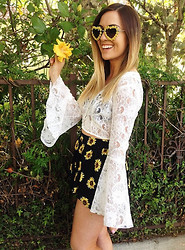 Echo Raphael - Lf Stores Sunflower Skort, Original Sin Bell Sleeve Top, Lf Stores Floral Sunglasses - Hearts In Her Eyes