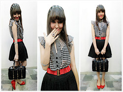 Larissa Petra - Forever 21 Black Lace Skirt, Thrift Store Polka Hair Bow, E Bay Lace Black N Golden Bag, Aliexpress Red Beld, Thrift Store Chiffon Checkered Blouse With Ruffles - I'm not yours ! XD
