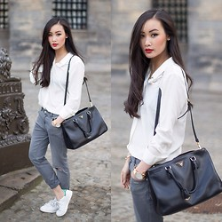 Levi Nguyen - White Shirt, Similar Here:, Jeans, Same Here:, Adidas Stan Smith, Blue One Here:, Prada Bag, Find Different Colors Here: - MINIMAL