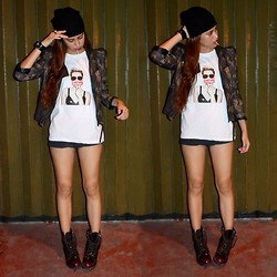 Jennica Sanchez - The Ranz Project Smiler Shirt, Forever 21 Leather Jacket, Fashion Paranoia Beanie, Beau Ashe Burgundy Boots - Strapping