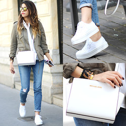 Fadela MECHERI - Marc By Jacobs Sunglasses, Diesel Jacket, American Retro Shirt, J Brand Jeans:, Michael Kors Bag, By Lis Cuff Bracelet, Victoria Shoes Sneakers - NICE SUNDAY