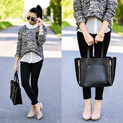 Pam S - Sheinside Jumper, Zara Pants, Zara Heels, Chic Wish Bag - Gray jumper