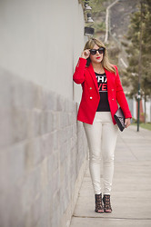 Chic Adventure It! By Giha - Mango Red Blazer, H&M What Ever T Shirt, Zara Sandals, Karen Walker Shades - Go Red!