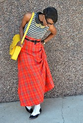 Sushanna M. - Leather Collar Houndstooth Dress, Yellow Cambridge Satchel, Red High Waisted Plaid Maxi Skirt, Black & White Wingtip Rainbow Heel Ankle Boots - Houndstooth & Plaid