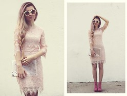 ♡Anita Kurkach♡ - Martofchina Dress, Martofchina Shoes, Romwe Glasses, Sheinside Bag - Pastel pink.