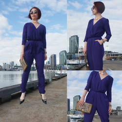 Shirley Z - Zara Necklace, Portmans Blue Jumpsuit, Mimco Sporto Mesh Envelope, Nine West Shoes - UP IN THE AIR (Literally)