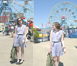 Eryn Elizabeth - Gap Striped Shirt Dress, Atienne Aigner Favorite Belt, Canal Street Sunnies, Lucky Brand Cargo Jacket, Thrifted Oxford Flats, Michael Kors Birthday Watch - Everything was open at Coney Island