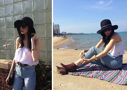 Caylee M. - O'neill Hat, H&M Sunglasses, O'neill Top, Topshop Jeans, Michael Kors Watch, Dolce Vita Boots, Vintage Belt - Sunndreamm.