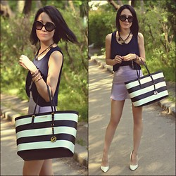 Paris Sue - Prada Sunnies, Michael Kors Bag, Choies Necklace, Persun Skirt, Boohoo Crop Top - Charming Violet